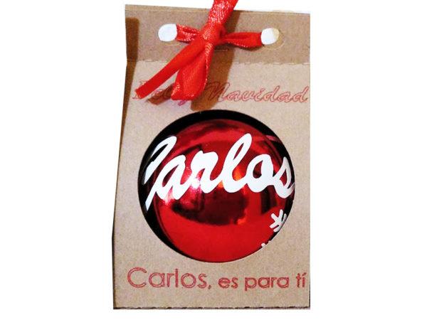 bola rojo brillo 600x450 - Bola de navidad personalizada con caja