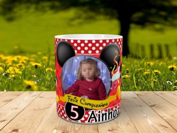 cumple mickey mouse 2 600x450 - Taza mickey mouse para cumpleaños con foto