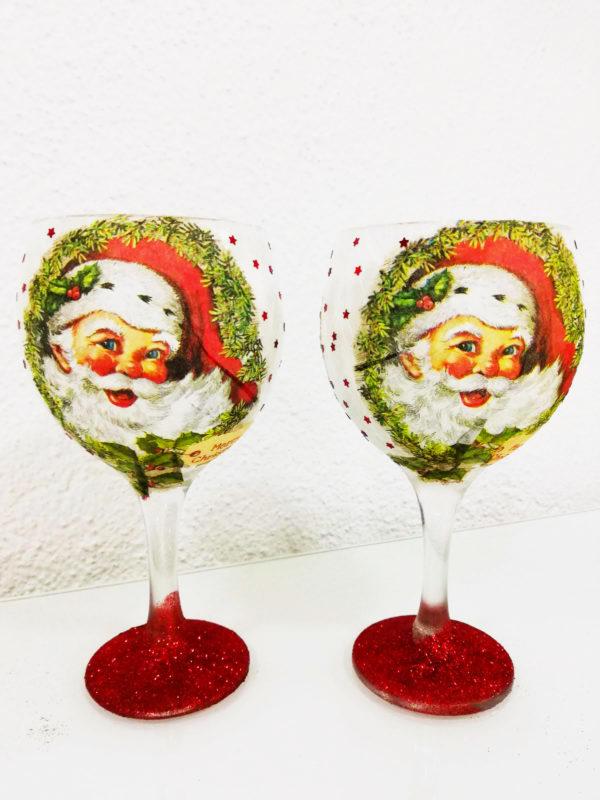 Copas de navidad de decoración con adorno Papa Noel